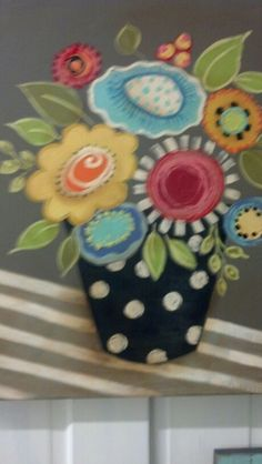 Flower pot acrylic painting