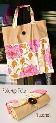 Fold up tote bag. Would be cool to use for reusable shopping bags Fold up tote bag. Would be cool to use for reusable shopping bags Sewing Hacks, Sewing Tutorials, Sewing Crafts, Sewing Projects, Sewing Patterns, Sewing Diy, Tote Bag Tutorials, Basic Sewing, Easy Patterns