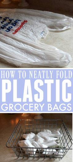 How to neatly fold your extra plastic grocery bags so they take up almost no space at all! 30 Minutes Or Less, Plastic Grocery Bags, Organization Hacks, Getting Organized, Cleaning Hacks, Helpful Hints, Make It Yourself, Useful Tips, Plastic Bags