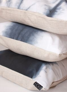 Chic and ethnic Pillow 100% handmade in top quality, shibori dark blue tie dye on white 100% cotton, back side beige soft linen fabric. Available on dawanda shop (Germany/france/UK) delivery international possible..http://de.dawanda.com/shop/designedonearth