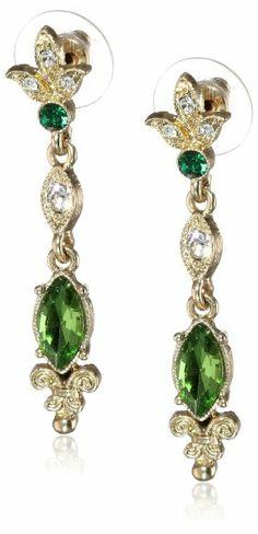 "Downton Abbey ""Jeweled Heirlooms Boxed"" Gold-Tone Belle Epoch Navette Emerald Drop Earrings: Jewelry"