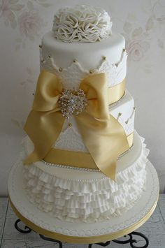 I'm going to try to make this...similar   Golden Anniversary Cake