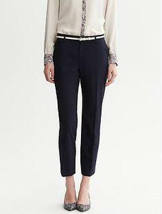 Martin-Fit Navy Lightweight Wool Slim Ankle Pant | Banana Republic