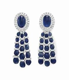 A PAIR OF SAPPHIRE AND DIAMOND EAR PENDANTS, BY DAVID WEBB
