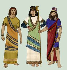 Clothing from the ancient kingdom of Assyria, locatedin Mesopotamia. As with Sumer, and all the ancient cities, the problem is scarse sources.