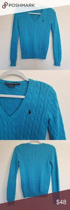 """Ralph Lauren Sport Blue Cable Knit Sweater Ralph Lauren Sport Blue Cable Knit Sweater, excellent used condition, worn once like new. Size Small, color blue, 100% cotton. V neck pullover. Measures armpit to armpit 16"""". Length 21"""". Ralph Lauren Blue Label Sweaters V-Necks"""