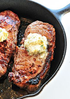 Skillet Steaks with Gorgonzola Herbed Butter Recipe..