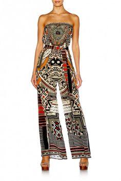 Camilla - Threaded Spell - Tie Waist Strapless Jumpsuit