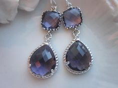 Amethyst Earrings Purple Silver Earrings Teardrop Pendant - Bridesmaid Earrings Wedding Earrings Bridal Earrings