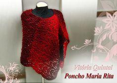 Poncho em tricô com receita e gráfico da Vitória Quintal - Katia Ribeiro Moda e Decoração Handmade