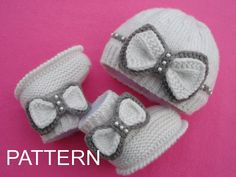 Knitting PATTERN Baby Girl Outfit Baby Booties Knitted Baby Hat Baby Beanie Knitted Baby Shoes Pattern Newborn Baby Girl Pattern in English Baby Knitting Patterns, Baby Girl Patterns, Baby Hats Knitting, Knit Baby Shoes, Baby Shoes Pattern, Baby Booties, Baby Set, Crochet Baby, Knitted Baby