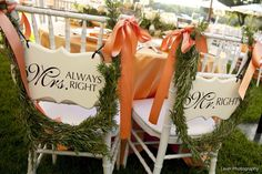 Totally crushing on these adorable signs for the bride and groom. Mrs. Always Right and Mr. Right!