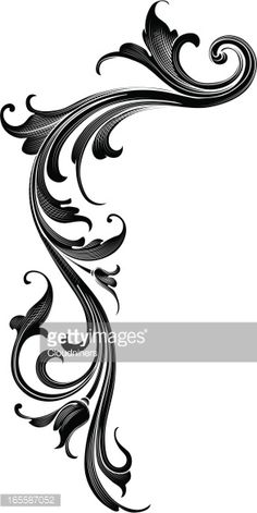 Vector Art : Black Arabesque Flow