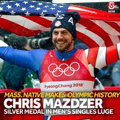 Congratulations to Massachusetts native Chris Mazdzer on making history at the 2018 Winter Olympics. The Pittsfield native is the first American to medal in the men's singles luge. 2018 Winter Olympics, Usa Olympics, Russia Winter, Go Usa, Luge, Different Sports, Team Usa, Athletes, American