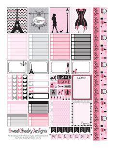 Printable Pink Paris Planner Sampler by SweetCheekyDesigns on Etsy