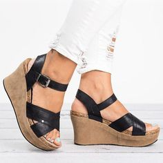 d89ae3f3df1f Women Large Size Cross Band Buckle Wedges Sandals