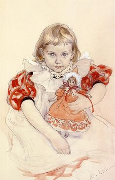Painting of his daughter by Swedish artist Carl Larsson
