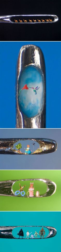 Elaborate micro-sculptures in the eye of a needle.