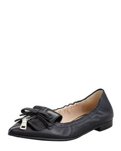 Pointy Zip-Front Ballerina Flat, Black by Prada at Bergdorf Goodman.