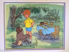 Animation Cel Winnie the Pooh's Christopher Robbin and Owl