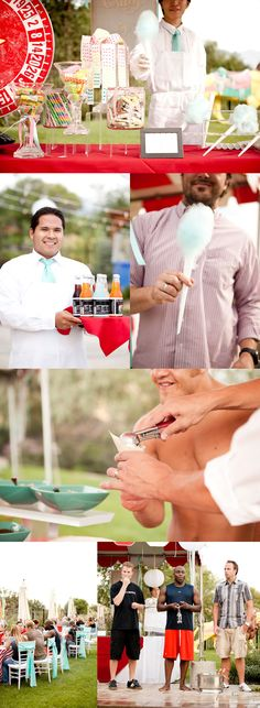 Carnival Party cotton candy, white shirts & aprons on servers with turquoise tie, bottled sodas