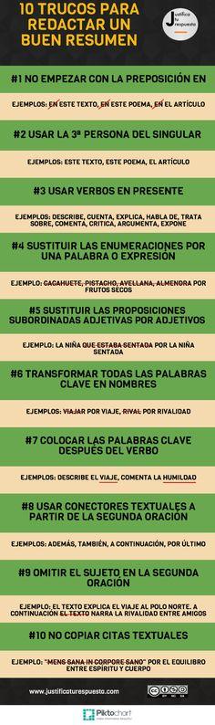 10 Trucos para redactar un resumen. [INFOGRAFÍA] - http://kcy.me/1du9a #educación #docentes