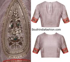 Simple Raw Silk Embroidered Blouse Designs with elbow length sleeves designed by Radhika Airi