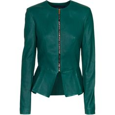 SAFiYAA Peplum Emerald Zip-up leather jacket (€2.700) ❤ liked on Polyvore featuring outerwear, jackets, coats, tops, casacos, zip up jackets, slim fit leather jacket, straight jacket, blue jackets and zip front jacket
