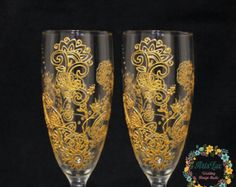 Winter Blizzard  Winter Wedding champagne Glasses with tender