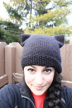 Ravelry: KitKat Hat pattern by Andre Sue | This adorable hat knits up quickly and is surprisingly easy. Skills required: knit, purl, 3-needle bind off, and knitting in the round. |