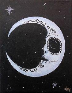 Sugar Skull Moon Painting could be a beautiful tattoo Sugar Skull Painting, Moon Painting, Sugar Skull Art, Painting & Drawing, Sugar Skulls, Candy Skulls, Sugar Skull Drawings, Sugar Skull Tattoos, Painting Tattoo