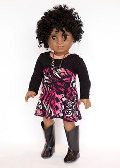 American Girl doll sized tri-city knit dress - black and pink by EverydayDollwear on Etsy