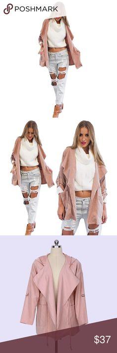 Basic Hooded Jacket Basic Coat. Casual Style, Long Sleeve Hooded Outerwear. Bust: 41 inch Tops Sweatshirts & Hoodies