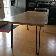 DIY Table made from plywood and hairpin legs rustic modern. via Ryobi Nation Raw Furniture, Dining Furniture, Furniture Making, Furniture Design, Furniture Ideas, Industrial Furniture, Diy Dining Table, Dining Room, Plywood Table