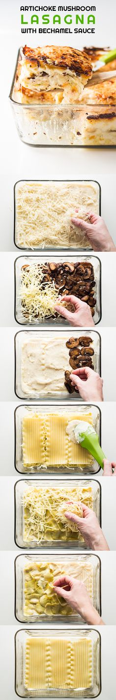 A healthy vegetarian Artichoke Mushroom Lasagna with Bechamel Sauce that doesn't fall apart and tastes amazing. Full instructions backed up with photos.