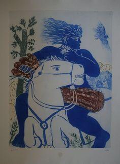 Alexandre (Alekos) FASSIANOS : Original Etching : Blue knight Greece Painting, 10 Picture, Greek Art, Horse Love, Color Of Life, Artist Art, Painting Prints, Illustration Art, Illustrations