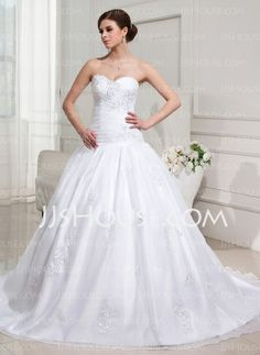 Wedding Dresses - $245.99 - Ball-Gown Sweetheart Chapel Train Organza Satin Wedding Dress With Ruffle Lace Beadwork Sequins (002012152) http://jjshouse.com/Ball-Gown-Sweetheart-Chapel-Train-Organza-Satin-Wedding-Dress-With-Ruffle-Lace-Beadwork-Sequins-002012152-g12152
