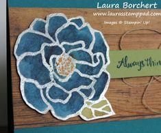 Rustic Flower, Brusho Color Palette, Beautiful Day Stampin' Up Stamp Set, Heat Embossing, Watercolor Paper, Wood Textures Designer Paper, www.LaurasStampPad.com