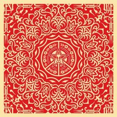 Shepard Fairey Ornate Pattern Red Prints