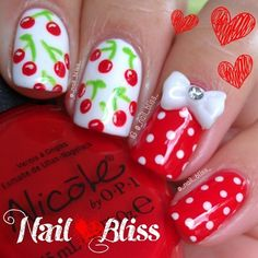 Cherry Nails by Gloria Garcia Fancy Nails, Diy Nails, Swag Nails, Cute Nails, Garra, Nail Art Designs, Fruit Nail Art, Fingernails Painted, Cherry Nails