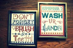 FREE kids bathroom art. Wash your hands and Brush your teeth. <3
