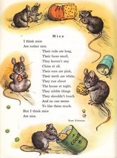 Mice poem by Rose Fyleman is part of Kids poems - Nursery Rhymes Poems, Poetry For Kids, English Story, Kids Poems, Cute Mouse, English Lessons, Stories For Kids, Children's Book Illustration, Vintage Children