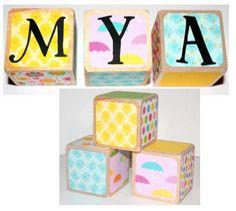 Personalized Baby Gift  Wooden Baby Blocks  by Nurserytimeblocks
