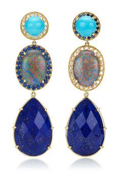 Unique Turquoise & Oval Australian Opal With Rosecut Diamonds Earrings by Andrea Fohrman for Preorder on Moda Operandi