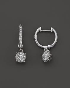 Bloomingdale's Diamond Cluster Hoop Earrings in 14K White Gold, .50 ct. t.w. on shopstyle.com
