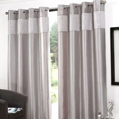 Glitz Eyelet Curtains Width x Drop) - Silver, great online value at only from QD Stores - Now doesn't that feel good Silver Curtains, Window Curtains, My Room, Home Furnishings, Colours, Living Room, Interior, House, Stuff To Buy