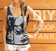 DIY scoop back tank out of a men's shirt. http://blog.swell.com/DIY-Sccop-Tank