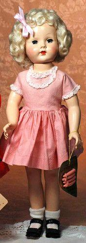 """Vintage 18"""" Effanbee Honey Wrist Tag Curlers Platinum Blonde 1950 Hard Plastic"""