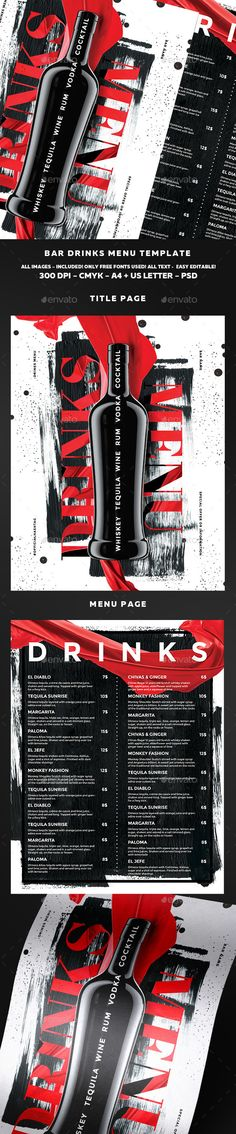 Cocktail Drinks Menu u2014 Photoshop PSD #drink #night out u2022 Download - drinks menu template