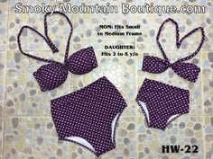 Matching Mom and Daughter High Waist Swimsuit (Purple with Hearts Design) HW22